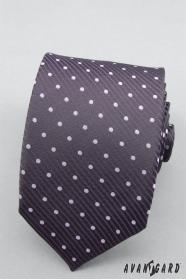 Fioletowy krawat w kropki fioletowe kropki