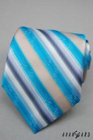 Turkusowy krawat w szerokie paski