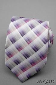Krawat w kratkę różowy, fioletowy