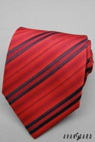 Szeroki czerwony krawat w paski