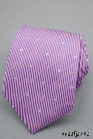 Liliowy krawat w paski i srebrne kwadraty
