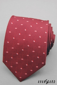 Czerwony krawat męski z małymi kwadratami