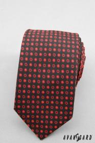 Wąski krawat w czarne czerwone kropki