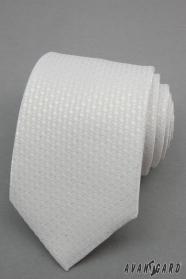 Biały krawat w srebrne kropki