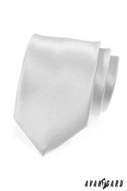 Biały błyszczący krawat gładki