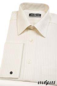 Kremowa koszula męska na spinki do mankietów
