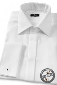 Koszula biała męska SLIM z zakrytą klapą na spinki do mankietów