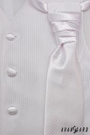 Kamizelka ślubna z krawatem i poszetką biała rozmiar 54