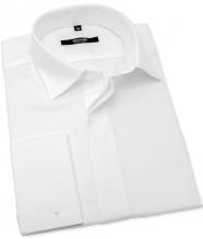 Biała koszula ślubna ANREDE na spinki do mankietów