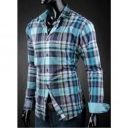 Turkusowa koszula slim fit z kostką Victorio