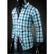 Męska koszula Victorio w niebieską kratę