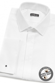 Męska koszula smokingowa SLIM biała przedłużona