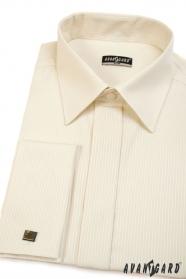 Koszula męska SLIM kremowa z wąskim paskiem, rozszerzony rozmiar