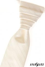 Kremowy ślubny krawat z drobnymi paskami
