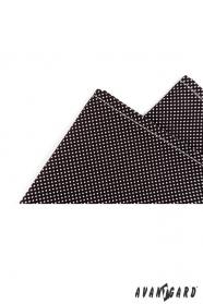 Męska bawełniana poszetka czarna z białą kropką