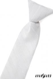 Biały krawat dziecięcy ze srebrnym wzorem