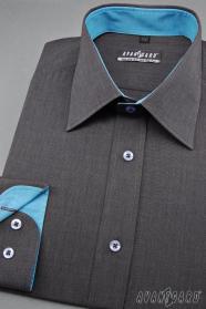 Męska grafitowa koszula z turkusowymi dodatkami