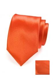 Pomarańczowy krawat w komplecie z poszetką