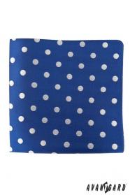 Niebieska poszetka w duże srebrne kropki