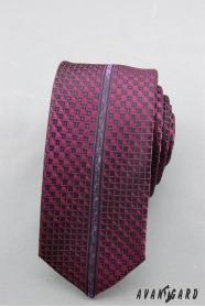 Wąski krawat z fioletowym wzorem