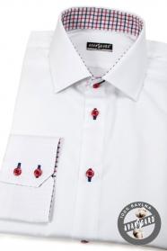Biała, wąska koszula slim z czerwonymi guzikami