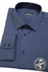 Niebieska koszula SLIM z długim rękawem, niebieskie guziki