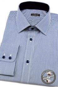 Koszula męska SLIM z delikatnymi niebiesko-białymi paskami