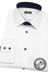 Biała koszula męska SLIM z niebieskimi dodatkami