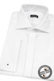 Biała koszula męska SLIM bawełniana na spinki do mankietów