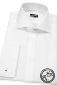 Koszula męska SLIM z klapą, biała 100% bawełna