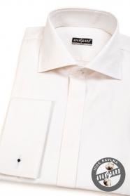 Koszula SLIM z zakrytą patką, na spinki do mankietów Krem