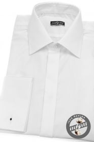Koszula męska SLIM zakrytą klapą, na spinki do mankietów Biała
