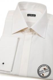 Koszula męska SLIM beżowa na spinki do mankietów
