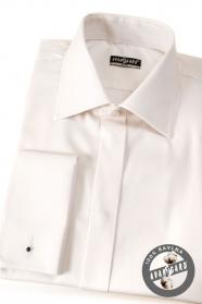 Kremowa koszula SLIM z francuskim mankietem