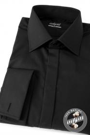 Czarna koszula męska SLIM z zakrytymi guzikami i francuskim mankietem