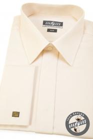 Kremowa koszula SLIM z klapką, na spinki do mankietów