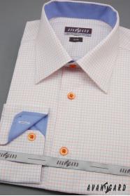 Biała, wąska koszula męska z niebiesko-pomarańczowymi dodatkami