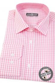 Slim koszula męska z różowymi kostkami i długimi rękawami
