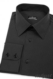 Koszula SLIM czarna z drobnym paskiem