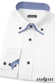 Koszula męska SLIM biała z elegancką niebieską kostką