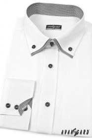 Biała koszula męska SLIM z długim rękawem i czarnymi dodatkami