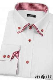 Biała koszula męska SLIM z długim rękawem i czerwonymi dodatkami
