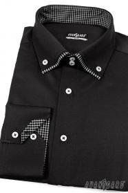Męska koszula SLIM czarna kratka wewnątrz