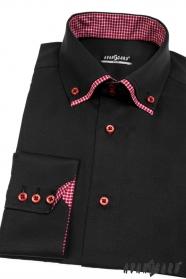Koszula męska SLIM z długim rękawem Czarna