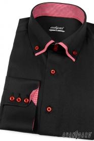 Koszula męska SLIM czarna z czerwonym wewnątrz