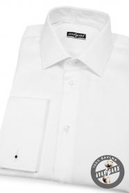 Biała bawełniana koszula slim męska z francuskim mankietem