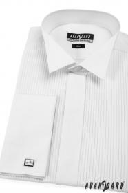 Koszula męska smokingowa SLIM biała plisowana