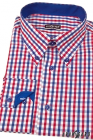 Koszula męska SLIM w kratę niebiesko-czerwoną