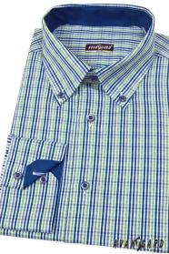 Koszula męska SLIM niebiesko-zielona w kratę