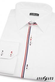 Biała koszula SLIM z kolorowymi paskami długie rękawy